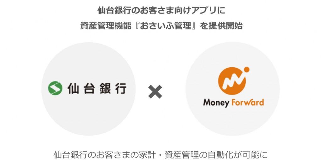 マネーフォワード、仙台銀行の顧客向けアプリに資産管理機能「おさいふ管理」を提供開始